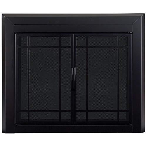 Pleasant Hearth EA-5010 Easton Black Firescreen Small Fireplace Glass Door