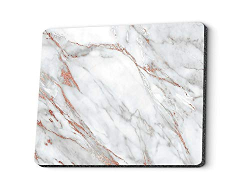 Abstract Marble Marbled Large Gaming Mouse Pad Custom, Chic Elegant Gray and Rose Gold Marble Mouse Pads