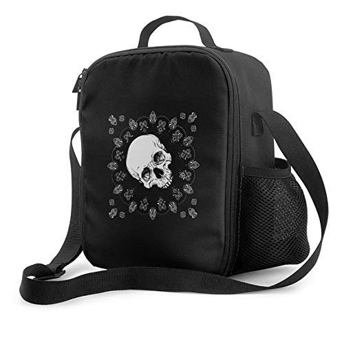 IUBBKII Bolsa de almuerzo con aislamiento Skull Insulated Lunch Bag, Leakproof Flat Lunch Cooler Tote with Shoulder Strap for Men and Women, Suitable for Work Office