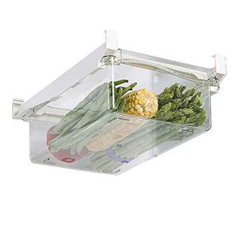 Cajón organizador para frigorífico, caja transparente para alimentos, bebidas, huevos, fruta, caja de nevera extensible con asa extraíble para frigorífico estante (caja de verduras)