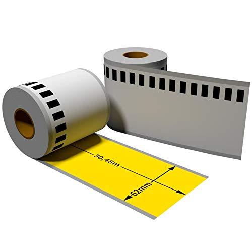 1x Label kompat. zu Brother DK22205 62 mm x 30,48 m endlos gelb mit wiederverwendbarer Wechselhalterung