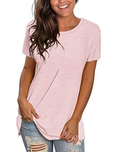 NSQTBA Womens T-Shirts Plain Solid Color Tops Cute Tees for Teen Girls