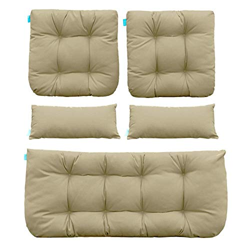 QILLOWAY Outdoor Patio Wicker Seat Cushions Group Loveseat/Two U-Shape/Two Lumbar Pillows for Patio Furniture,Wicker Loveseat,Bench,Porch,All Weather, Settee of 5 (Beige)