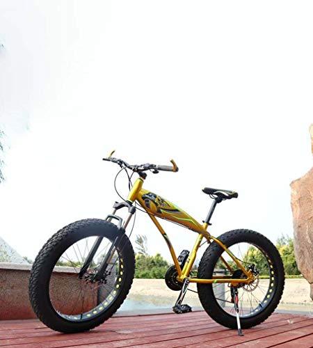 AISHFP Fat Tire Adult Mountainbike, Doppelscheibenbremse/Aluminiumlegierung Frame Cruiser Bikes, Beach Snowmobile Fahrrad, 26 Zoll Räder,Gelb,27 Speed