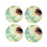 Retro Sunflower Design Coasters 4 Pcs Round Cups Mugs Place Mats Modern Ceramic Coasters Decor for Drinks Bar Wooden CoffeeTable Cork Base Decorative Coasters for Housewarming, 4'