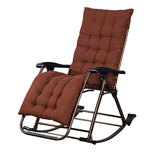 JUANSHUAI Silla de ocio para el hogar Silla de playa Silla de oscilación jardín Patio Ocio plegable silla reclinable Beach Pool silla reclinable camping Tumbona con el amortiguador Max.200 kg - Brown