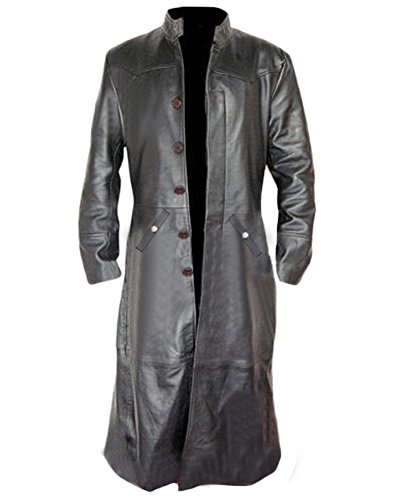 Mens Sexy Real Black Leather Long Matrix Goth Trench Coat Gothic -T3 (Black)