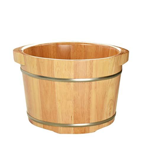 FAP Voet Massagers Pedicure Basin Eiken Voet Bad Vat Voet Massage Voet Barrel Huishoudelijke Houten Voet Bad Vat met Deksel Dikke wastafel wastafel, Hout kleur, een