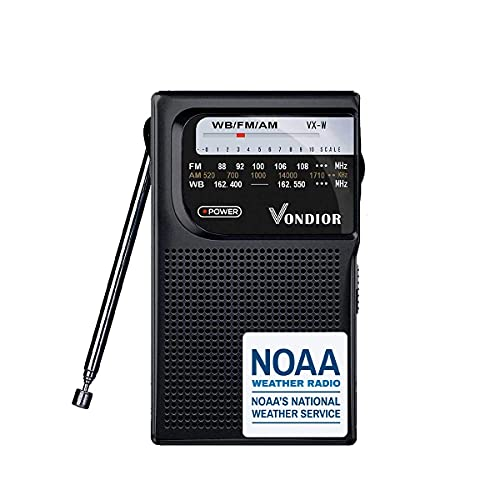 NOAA Weather Radio - Emergency NOAA/AM/FM Battery Operated Portable Radio with Best Reception. Hurricane Supplies for Home. Powered by 2 AA Batteries, by Vondior (Black)