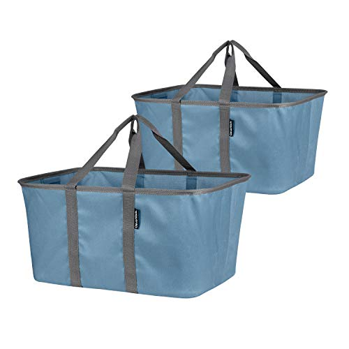 CleverMade Collapsible Fabric Laundry Baskets - Foldable Pop Up Storage Container Organizer Bags - Large Rectangular Space Saving Clothes Hamper Tote with Carry Handles, Pack of 2, Denim