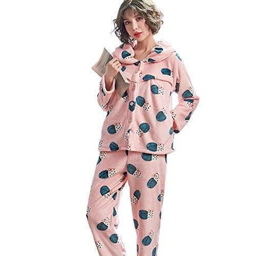 clothing Pyjama d'allaitement pour Femmes Enceintes, Pyjama de Grossesse en Flanelle après l'accouchement, Pyjama d'allaitement en Velours et épaisses 2 séries d'automne et d'hiver