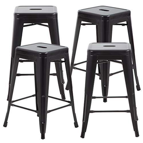 FDW 24 Inches Metal Chair Bar Stools Counter Height High Backless Stools Indoor Outdoor Stackable Chair Patio Bar Stool Home Kitchen Set of 4 (Black)