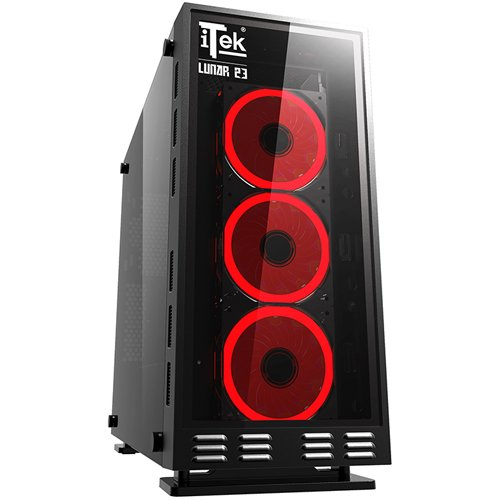 Itek Lunar 23 Gaming Middle Tower con Telecomando, Nero
