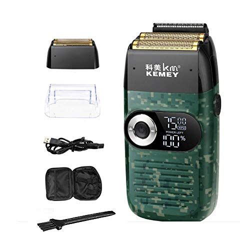 KEMEI Military Electric Razor pro Electric Foil Shaver Electric Razor for Men Beard Trimmer Rechargeable Hair Clipper Dual Purpose with Traveling Bag