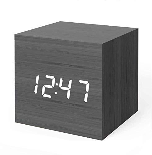 Digital alarm clock, wooden LED light Mini modern cubic clock display time...