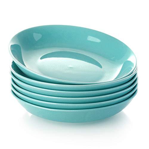 Teocera Pasta Bowls, Salad Serving Bowls Set, Wide and Shallow, 22 Ounce Porcelain Bowl, Microwave and Dishwasher Safe - Set of 6, Turquoise