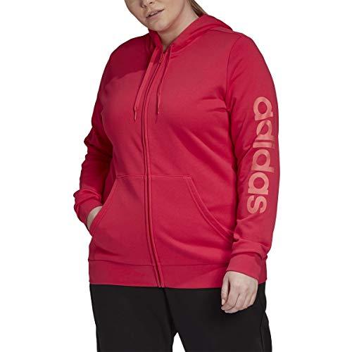 Adidas Sudadera con Capucha y Cremallera Completa para Mujer Essentials con Forro Polar y 3 Rayas