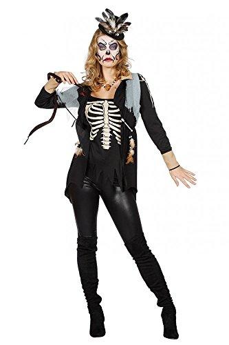 shoperama Voodoo Queen Mujer Top Medicinal Muñeco Chaquetas Parte Superior Palo de Lluvia Disfraz mondpriesterin schamanin Witch Doctor