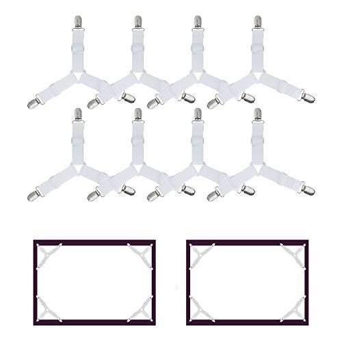 WADEO Clip Forti 8 Pezzi per Lenzuola 8 pezzi Bretelle di Fissaggio con Pinze Regolabili a Triangolo 3-Modi per Lenzuola Letto Ferma Lenzuola Colore Bianco