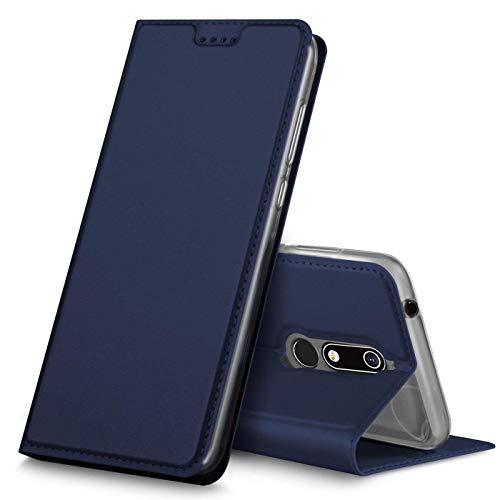 Verco Handyhülle kompatibel mit Nokia 7.1, Premium Handy Flip Cover für Nokia 7.1 Hülle [integr. Magnet] Hülle Tasche, Blau