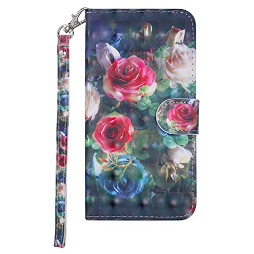 iPhone 11 Pro Max Case, 3D Shockproof PU Leather Flip Cover Notebook Wallet Case with Magnetic Closure Stand Card Holder ID Slot Folio Soft TPU Bumper Protective Phone Case Skin Rose