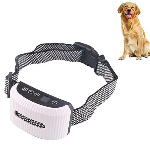 Antibell, Hunde-Bellhalsband, Anti-Bell Halsband, Geeignet für alle Arten von Hunden Wiederaufladbares Anti-Bell-Halsband verstellbare Größe 3 Modi zur AuswahlWhite