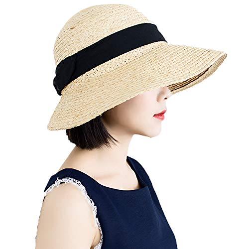 GRX-HAT Sombrero de Paja para Mujer, Sombrero de Playa, Transpirable y Resistente...
