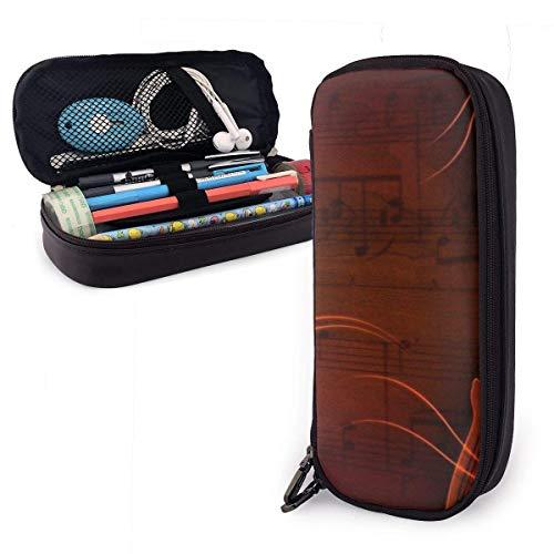 Gitarren- und Musiknotiz PU-Federmäppchen aus Leder, große Stifttasche, langlebige Studenten-Schreibwaren-Organizer mit doppeltem Reißverschluss