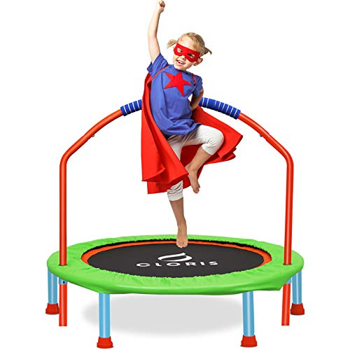 CLORIS Mini Trampoline for Kids| Toddler Trampoline with Adjustable Foam Handle|38 Inch Foldable Kids Trampoline|Colorful rebounder Trampoline|Little Trampoline for Play & Exercise(Age 3-14)