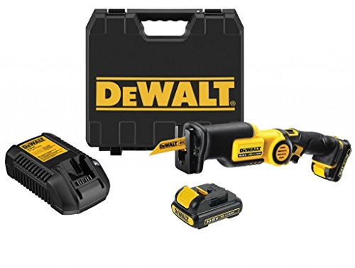DeWalt DCS310D2 Cordless Reciprocating Saw (10.8 Volt, 2.0 Ah, Very Compact Design and Light Weight, Integrated LED Lamp, Includes 2 Batteries, Quick Charger System and Case)