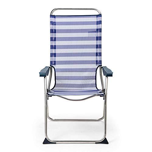 Solenny 50001072725199 50001072725199-Silla de Playa 5 Posiciones Respaldo Anatómico Azul y Blanco