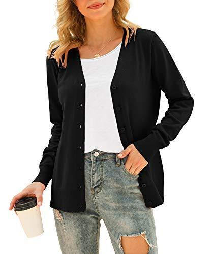 VIISHOW Women Long Sleeve Button Down V Neck Lightweight Basic Knit Sweater Cardigan, Black, X-Large