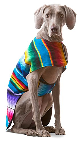Baja Ponchos Dog Clothes - Handmade Dog Poncho from Authentic Mexican Blanket (No Fringe, X-Large)