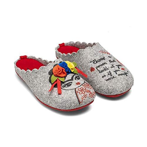 Slippers Frida Gris Zapatillas de Estar por casa Mujer Invierno Otoño - 36 EU
