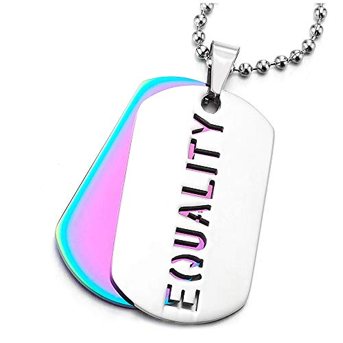 iMETACLII Dos Piezas Acero Equality Militar Ejército Dog Tag Collar con Colgante de Hombre Mujer, Cadena 75CM, Arco Iris Púrpura