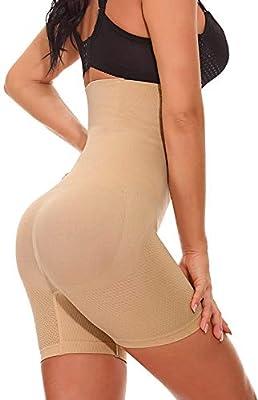 Larry&Marry Women Body Shaper Seamless Butt Lifter Shapewear Hi-Waist Waist Trainer Tummy Control Panty Beige from