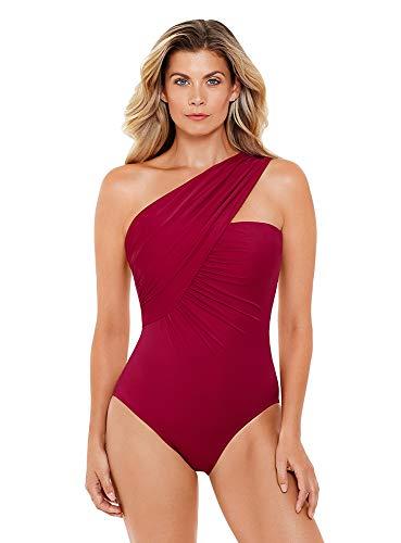 Magicsuit Women's Swimwear Solid Goddess One Shoulder Underwire Bra One Piece Swimsuit, Vamp, 14