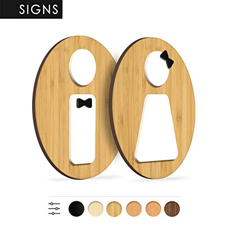 3DP Signs - Inodoro de baño WC - letreros y pictogramas personalizables para puertas, habitaciones, restaurantes, tiendas y oficinas, placa de madera en relieve