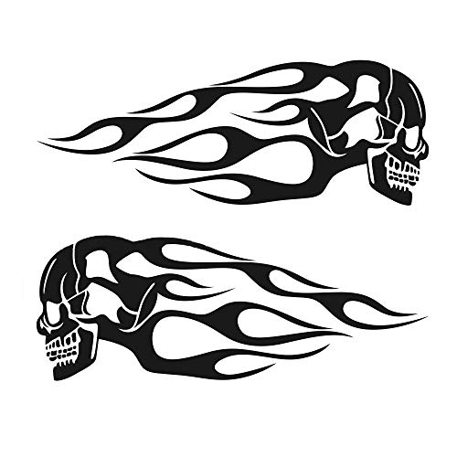Practlsol Motorcycle Sticker, Flaming Fanged Skull Gas Tank Decals, 13X5'' Universal Fits Harley Honda Yamaha and Others