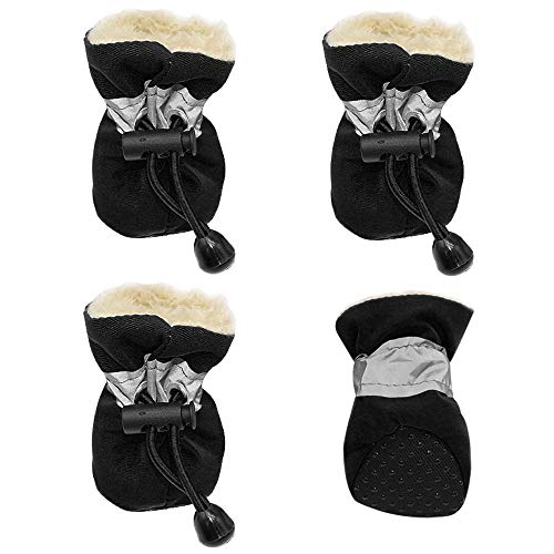 JINAN 4 Stück Dwaterproof Wasser Winter Hund Schuhe Anti-Rutsch-Regen-Schnee-Aufladungen Starke warme Schuhe for kleine Katzen Hunde Welpen Socken Stiefel (Color : Black, Tamanho : S)