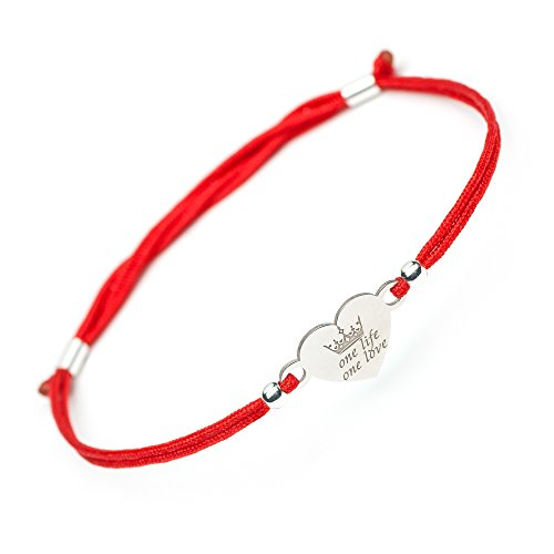 SOLOMIYA Love 925 Silver Bracelet - Heart Jewelry Charm Pendant - Red String Protection Bracelet for Mom Women Wife Gift (One Life One Love)