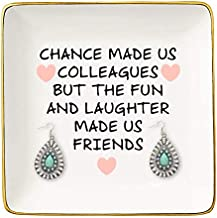 The Fun And Laughter Made Us Friends – Ceramic Jewelry Holder Ring Dish Trinket Tray – Leaving or Going Away Gifts for Co-worker,Women - Best Co-worker BFF Gift - Perfect For Work Bestie Friends