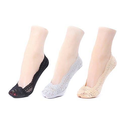 Calcetines Mujer - Invisibles de Encaje con Silicona Anti-deslizante Colores Mixto. GATHER OTHER. Tres pares-