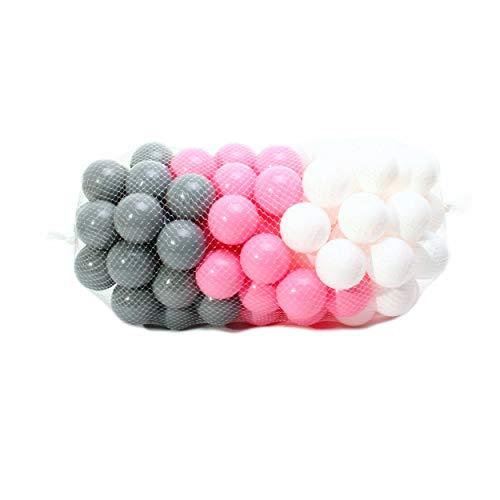 4L Textil 100 Stück Bälle für Bällebad 7cm(Nicht ∅6cm) Bälle für Kinder Bällebäder Babybälle Plastikbälle Ballpool Ohne Weichmacher Rosa Türkis Blau Weiß Grau Made In EU (Rosa, Weiß, Grau)