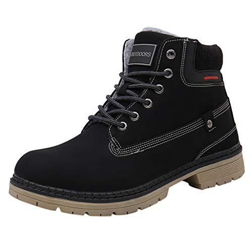 Gaowen Women Winter Warm Snow Boots Outdoor Hiking Non-Slip Waterproof Mountaineering Sport Shoes (Black, 8.5)