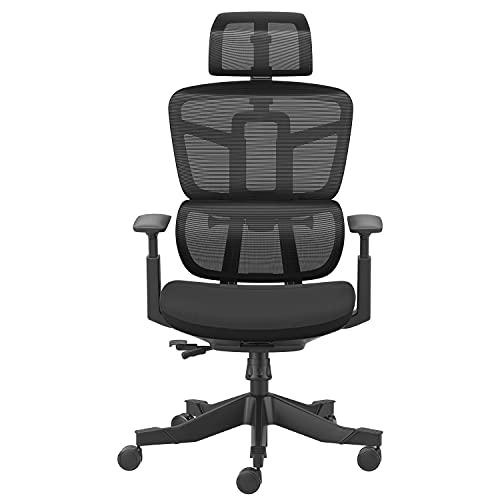 Hbada ergonomischer Bürostuhl, Drehstuhl mit Verstellbarer Hoher Rückenlehne, Lordosenstütze, Kopfstütze, Armlehnen, Bürostuhl Netzstuhl, Schwarz