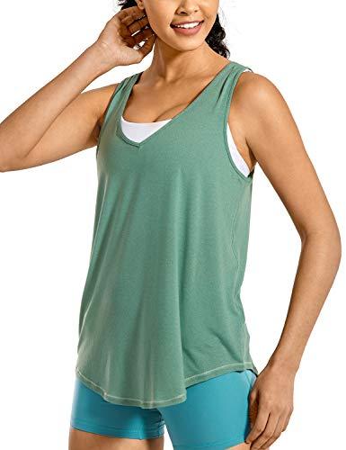 CRZ YOGA Mujer V Neck T-Shirt Camiseta sin Mangas de Entrenamiento Fitness Camisolas Pino Templado 38