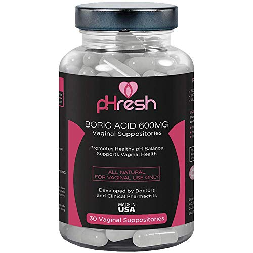 Boric Acid Suppositories Vaginal 600 mg pHresh - Promotes Healthy Vaginal pH Balance, Supports Vaginal Health, Bottle of 30 Natural Boric Acid Suppositories, Boric Acid Pills for Women Made in the USA