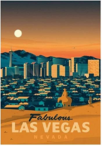 liujiu Las Vegas Travel Canvas Wall Art Poster and Prints Painting for Living Room Home Decor DecorationsPicturesGift -20x28 Inch No Frame 1 Pcs