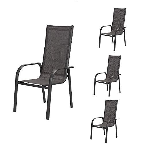 acamp Gartenstühle Stapelbar Spring | 4er-Set Stapelstühle Garten wetterfest | Hochlehner 59x69x110 cm in Anthrazit | Aluminium-Gestell pulverbeschichtet | Bezug aus atmungsaktivem Acatex-Gewebe